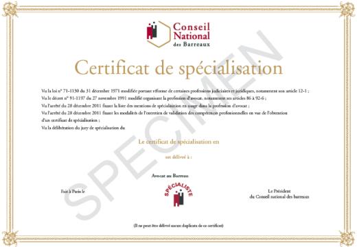 Diplome de spécialisation avocat