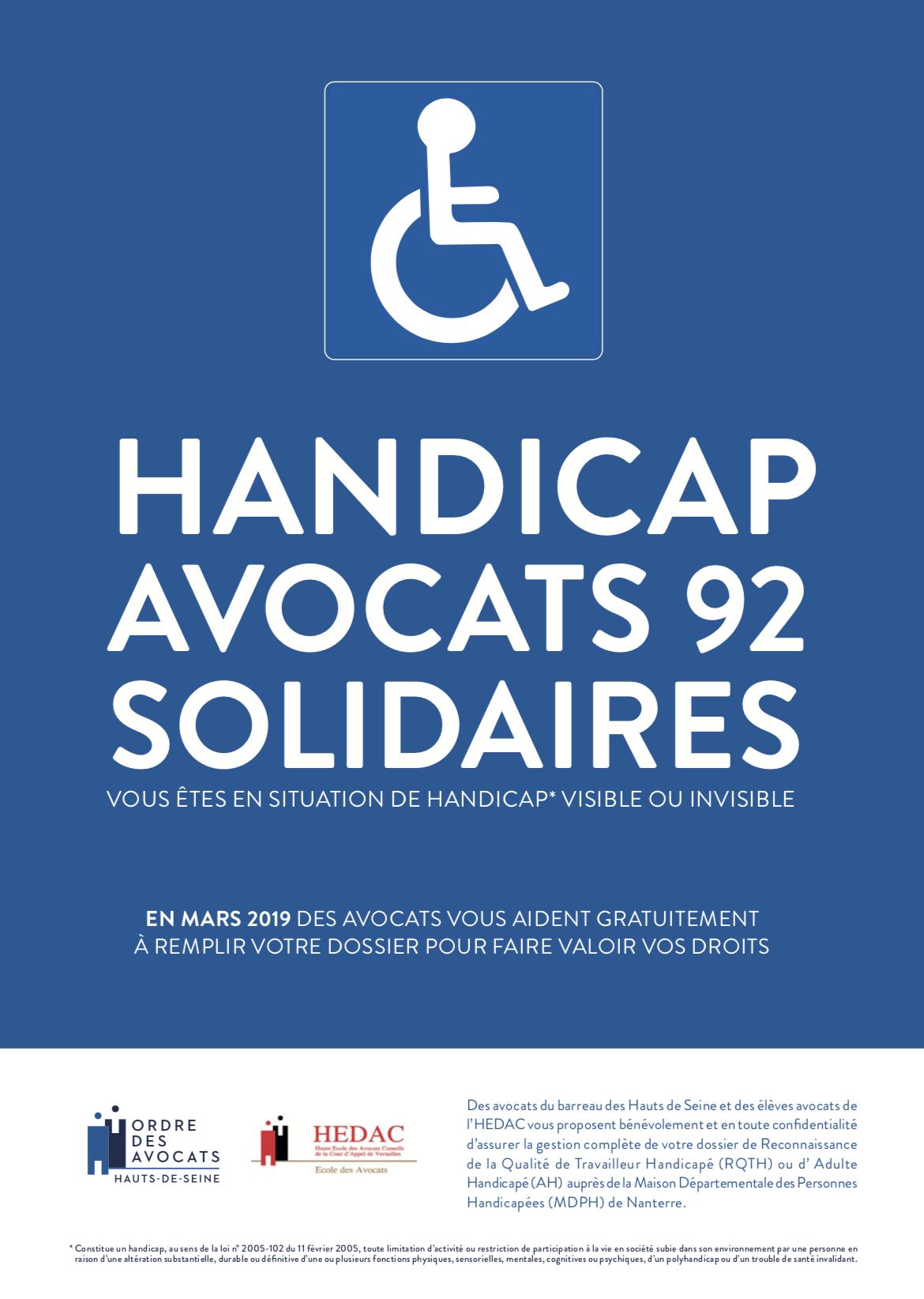 HANDICAP  : AVOCATS 92 SOLIDAIRES  -  MARS 2019