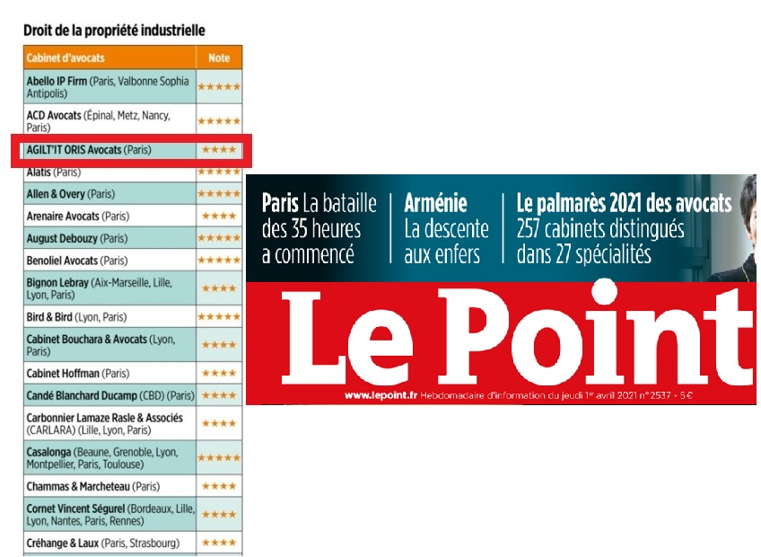 Classement Le Point :AGIL'ITrécompensé en propriété industrielle