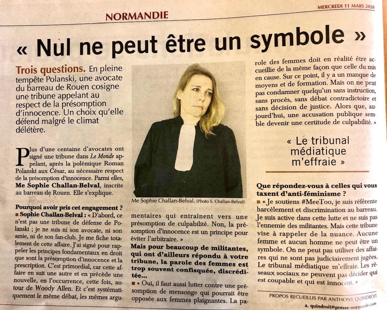 une avocate normande cosigne une tribune sur la présomption d'innocence - PAR ANTHONY QUINDROIT - Interview PARIS NORMANDIE