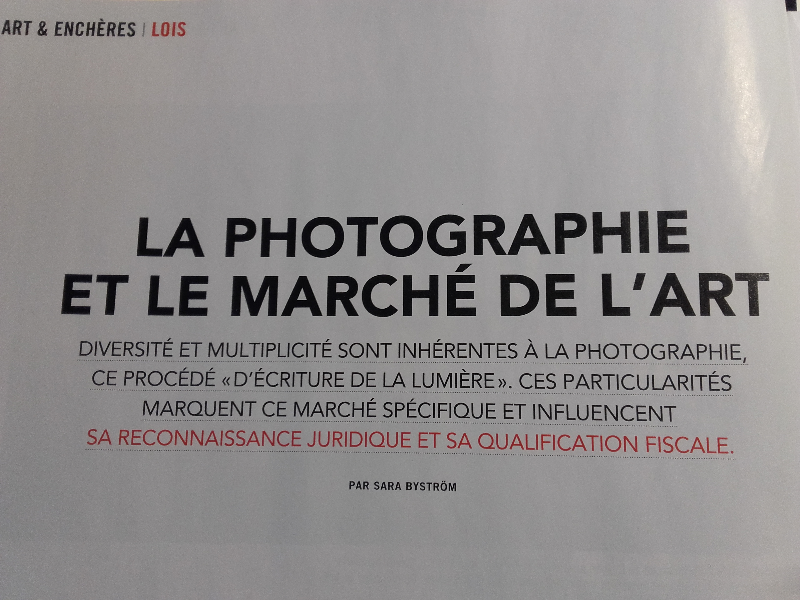 """La photographie et le marché de l'art"" in La Gazette Drouot"