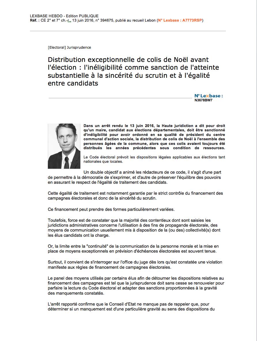 Contentieux électoral - Droit des collectivités territoriales : Annulation de l'élection, inéligibilité du maire, rejet des comptes de campagne.
