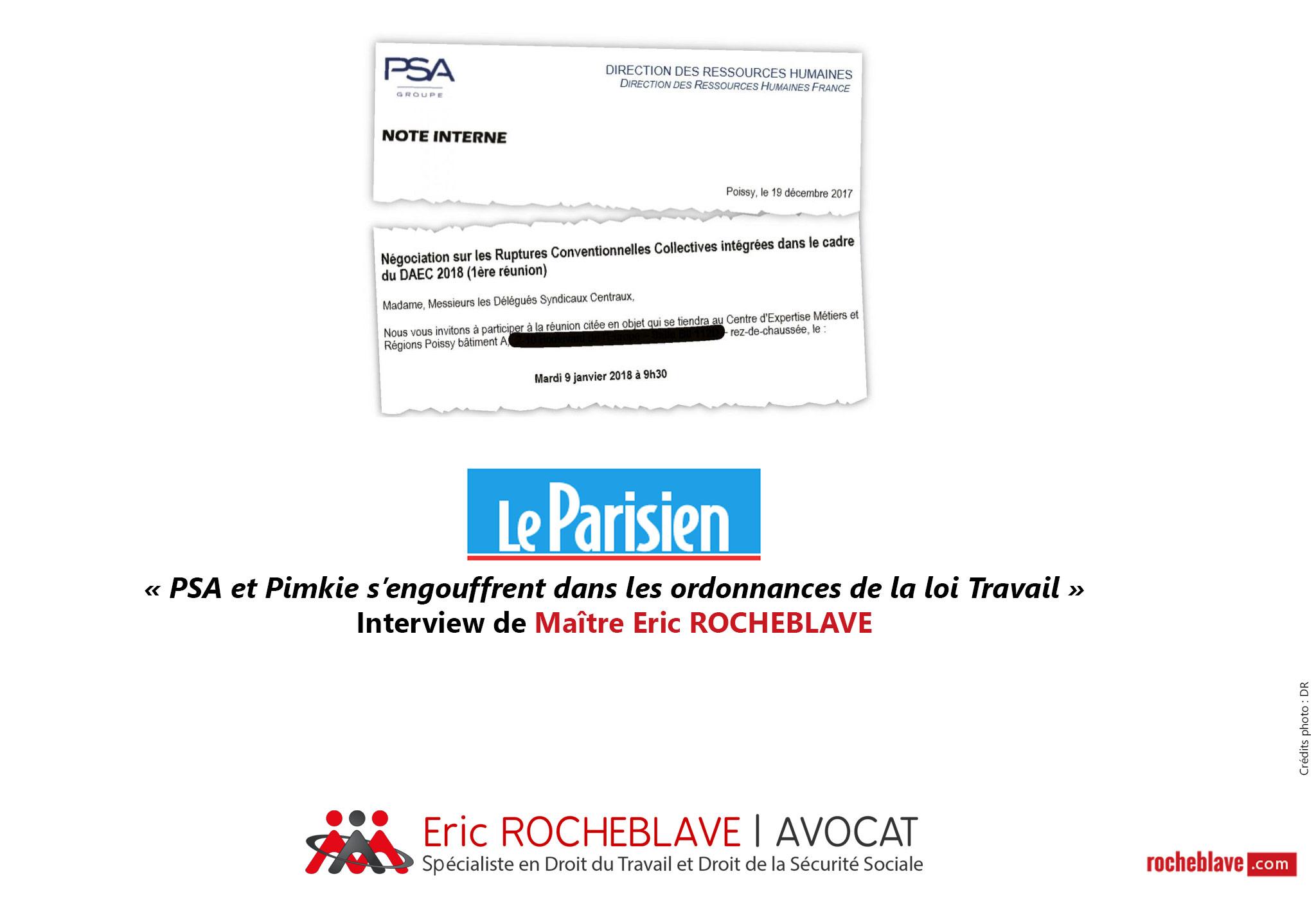 « PSA et Pimkie s'engouffrent dans les ordonnances de la loi Travail » Interview de Maître Eric ROCHEBLAVE | Le Parisien