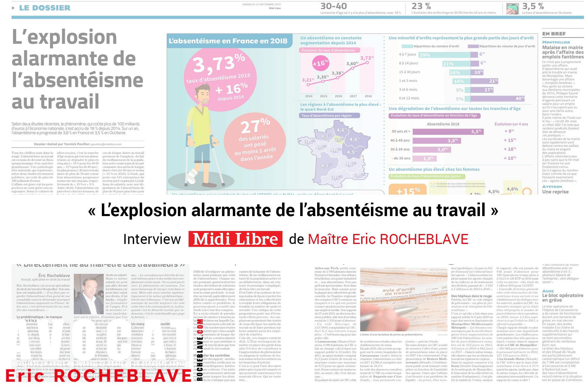« L'explosion alarmante de l'absentéisme au travail »  Interview MIDI LIBRE de Maître Eric ROCHEBLAVE