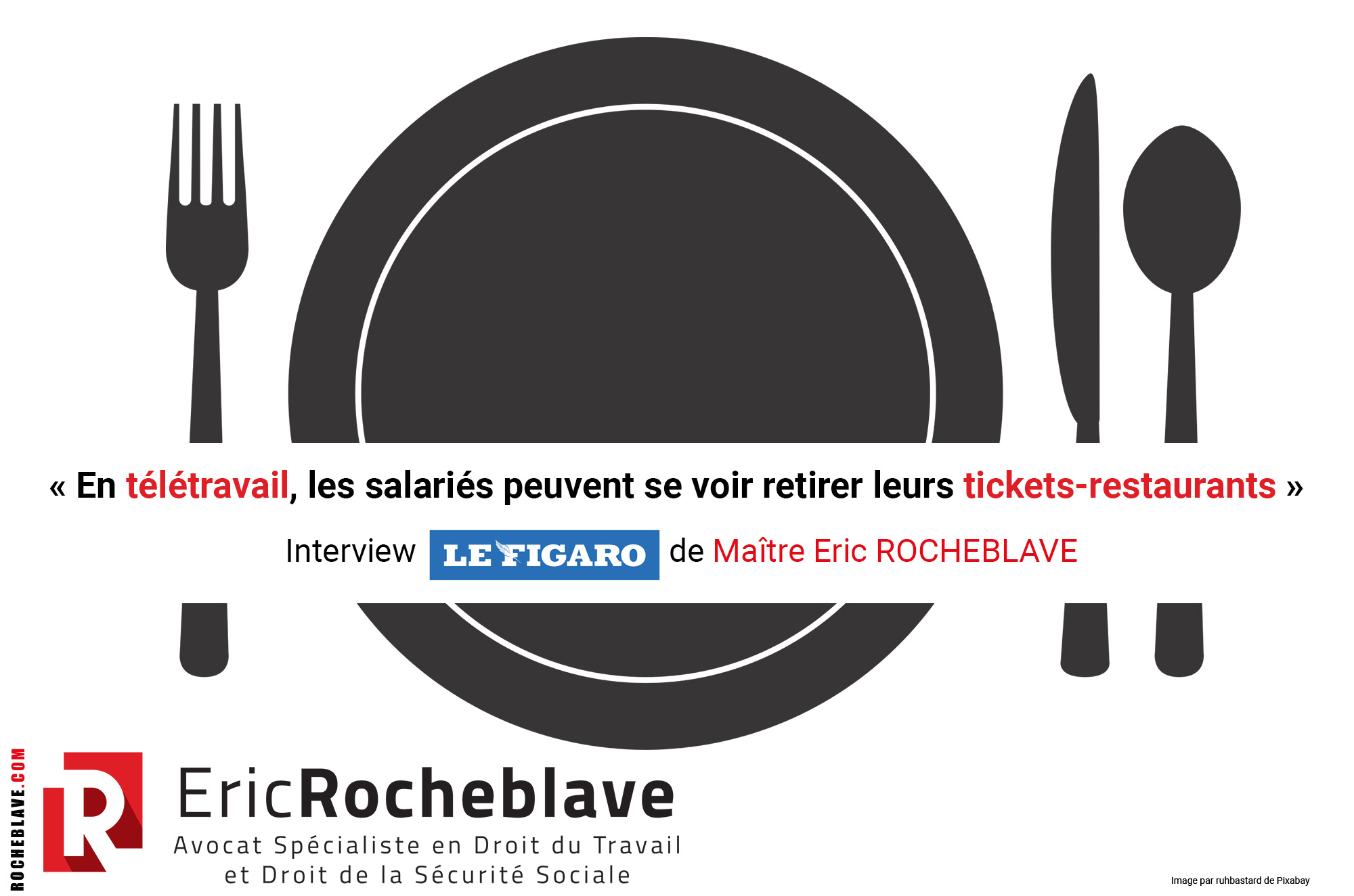 « En télétravail, les salariés peuvent se voir retirer leurs tickets-restaurants » Interview Le Figaro de Maître Eric ROCHEBLAVE