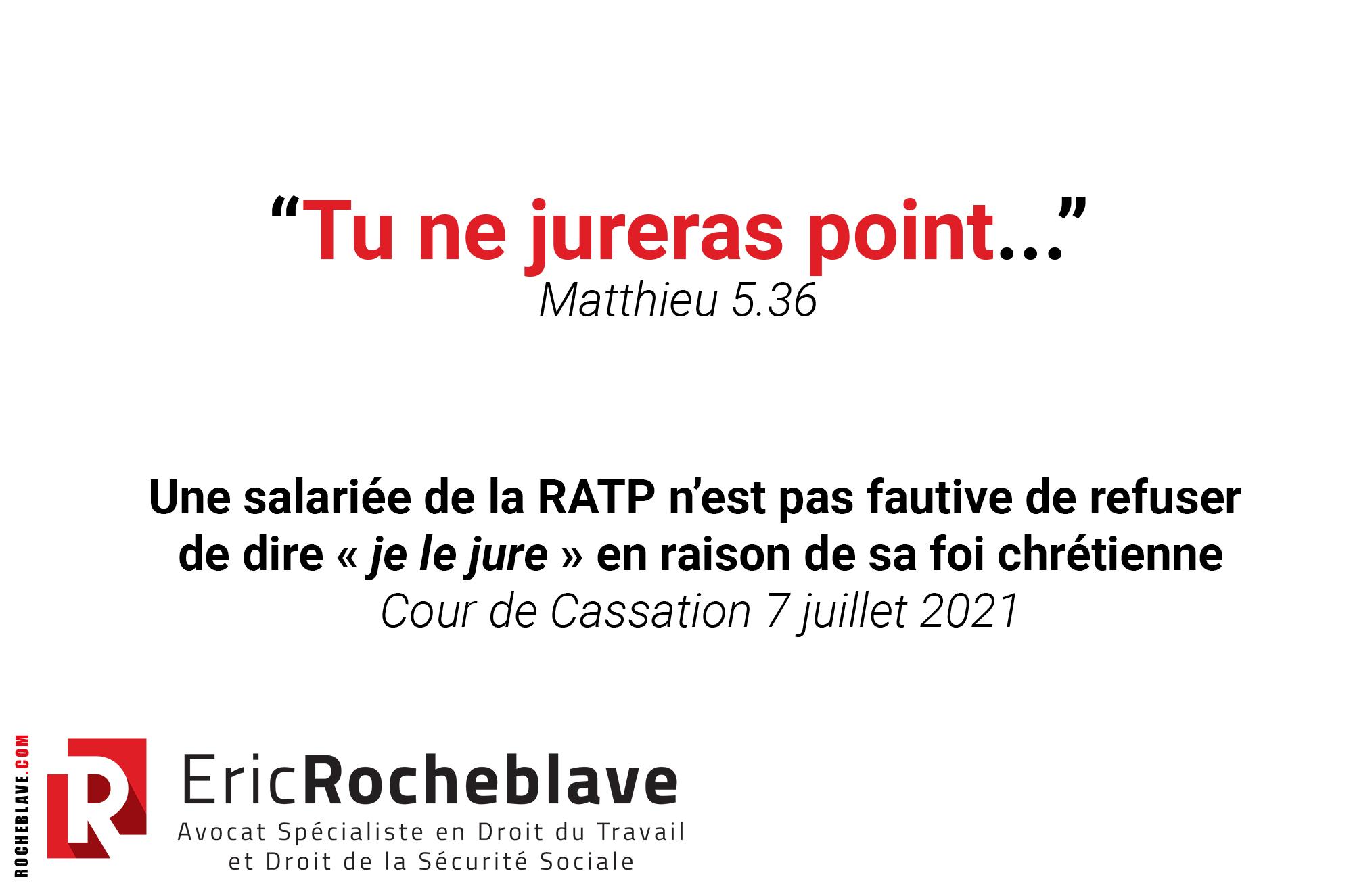Une salariée de la RATP n'est pas fautive de refuser de dire « je le jure » en raison de sa foi chrétienne