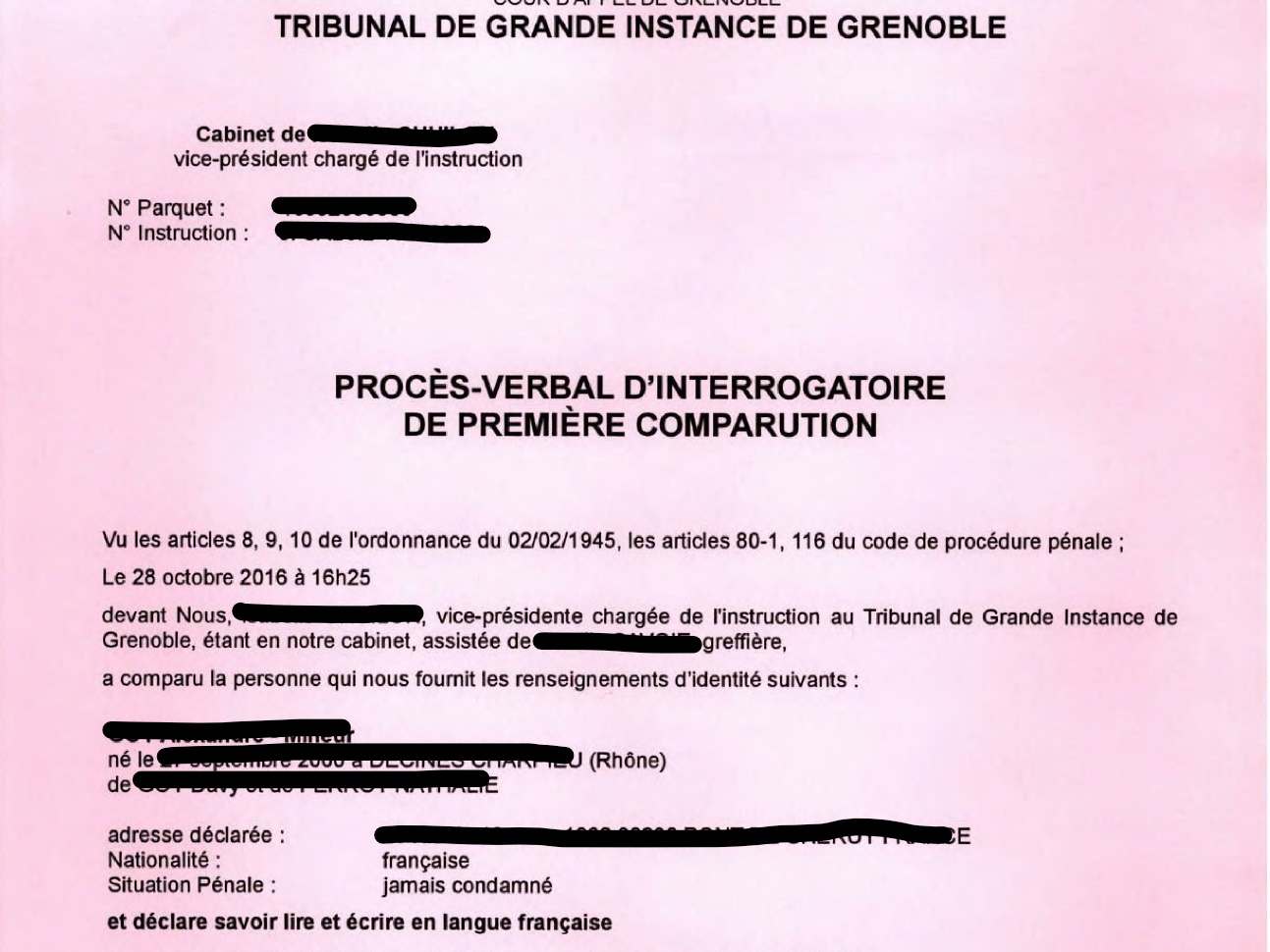 La mise en examen d'un suspect par le juge d'instruction