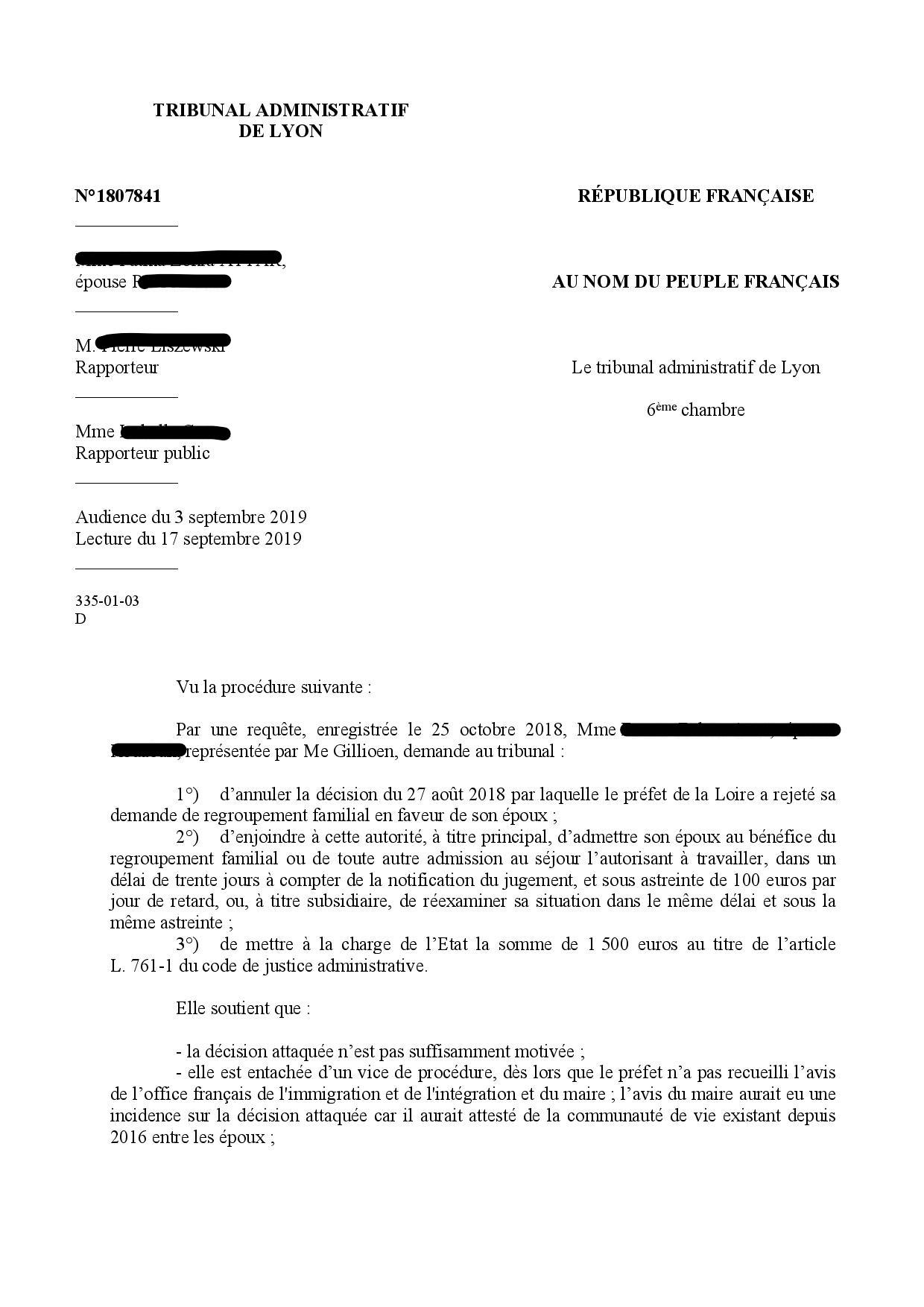Conjoint en situation irrégulière et regroupement familial : jurisprudence du TA de Lyon
