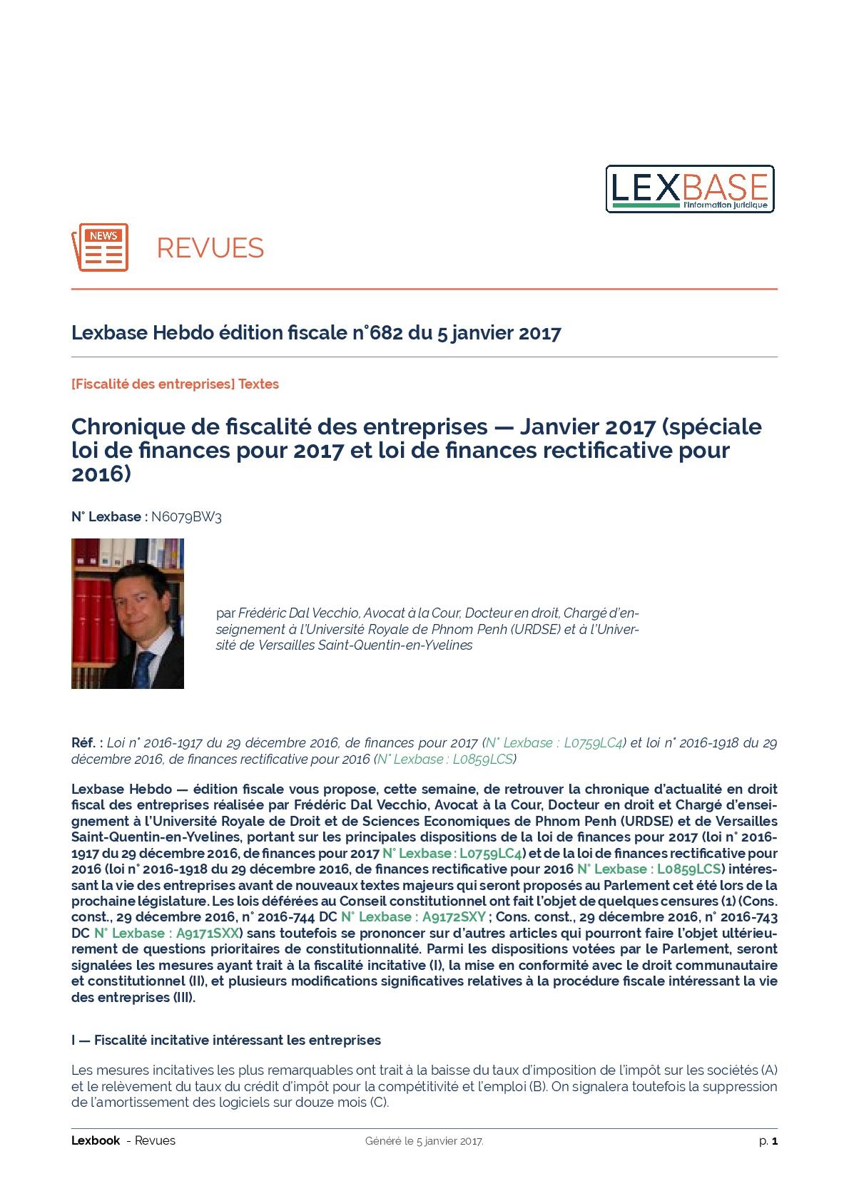 Loi de finances pour 2017 et loi de finances rectificative pour 2016