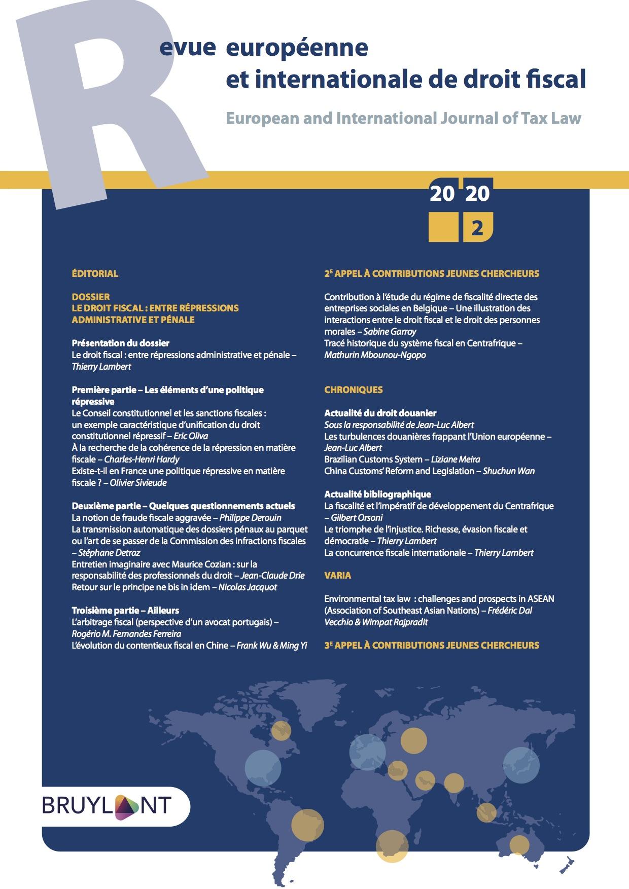 Droit fiscal de l'environnement : questionnements et perspectives au sein de l'ASEAN (Association des Nations de l'Asie du Sud-Est)