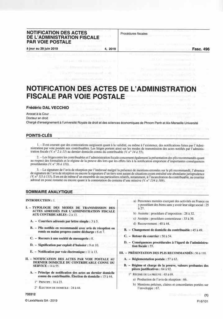 Notification des actes de l'administration fiscale par voie postale