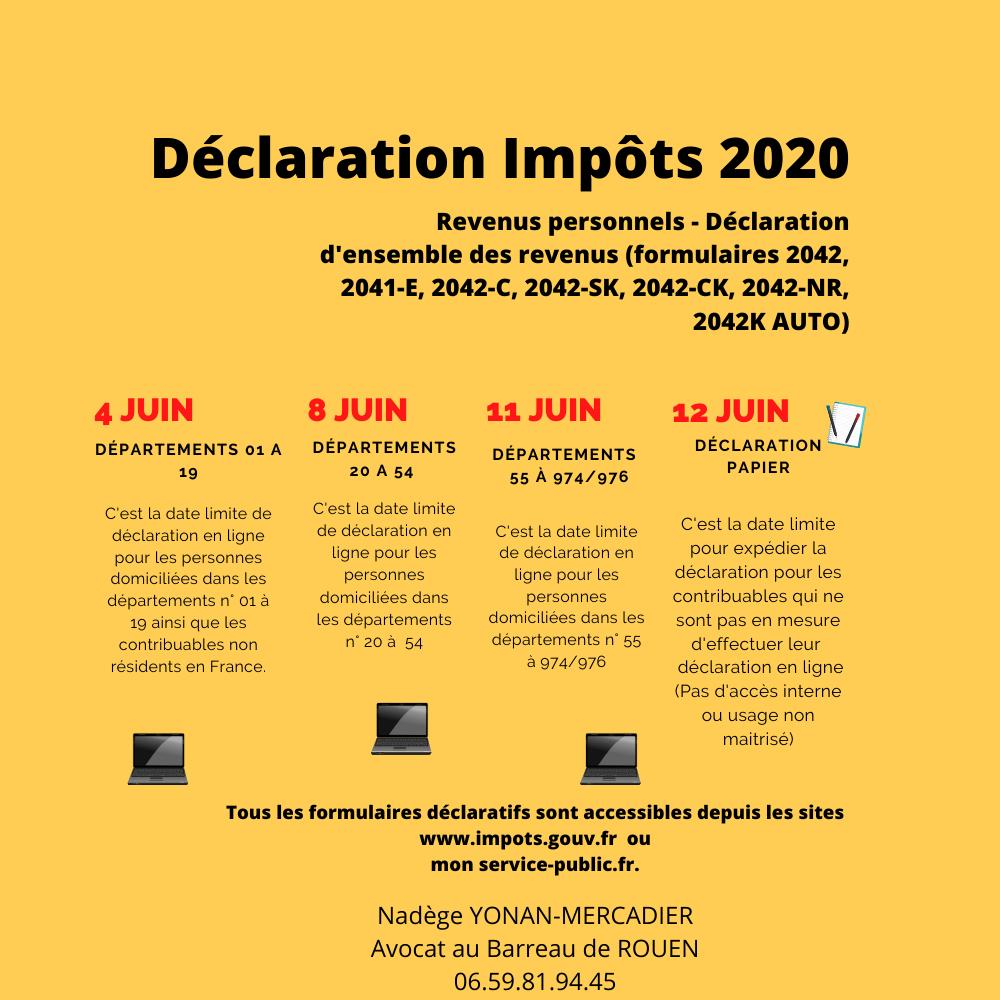 Déclaration impôt sur le revenu 2020 Infographie