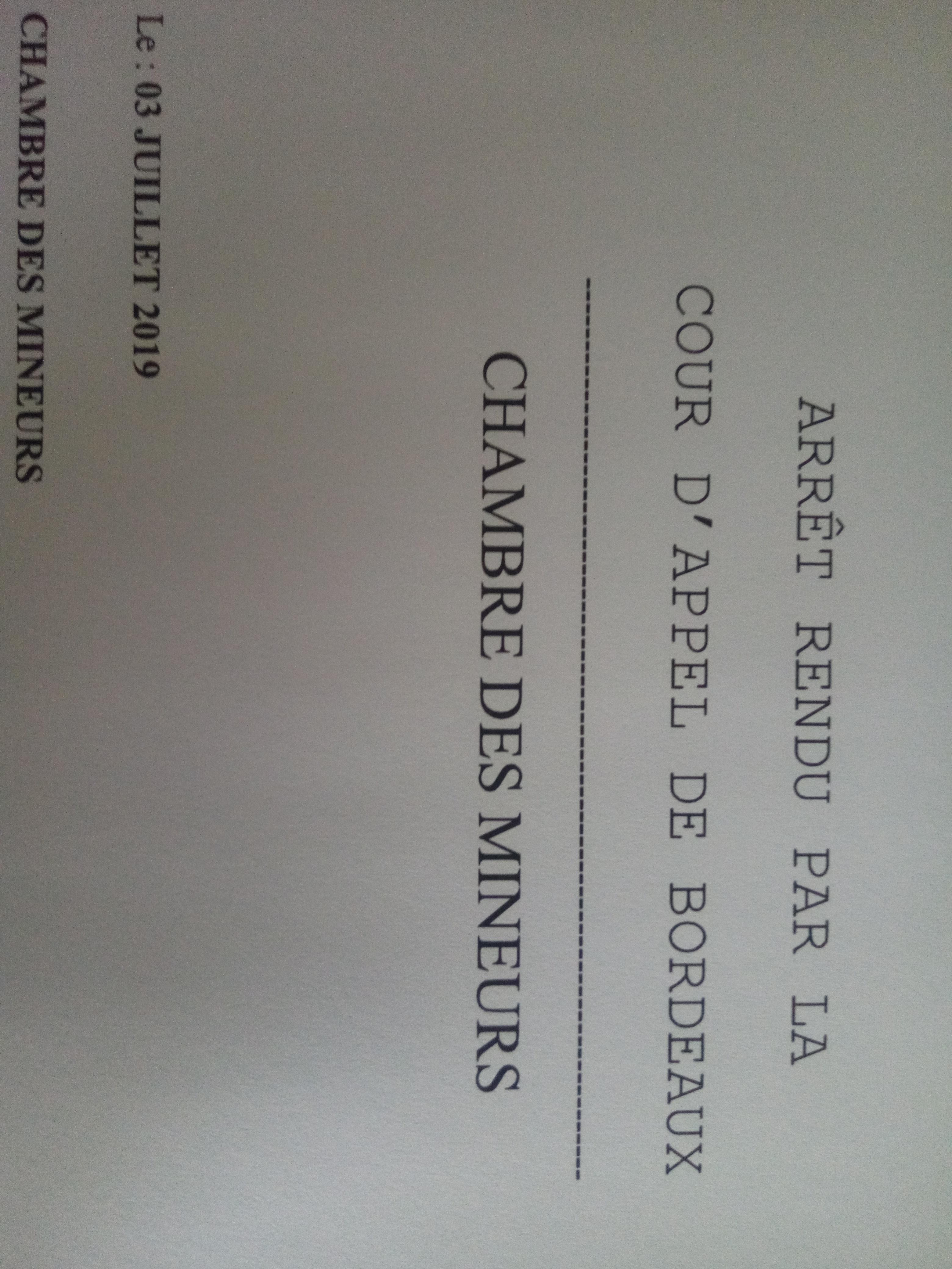 Une belle décision de la Chambre des mineurs de la Cour d'Appel de Bordeaux