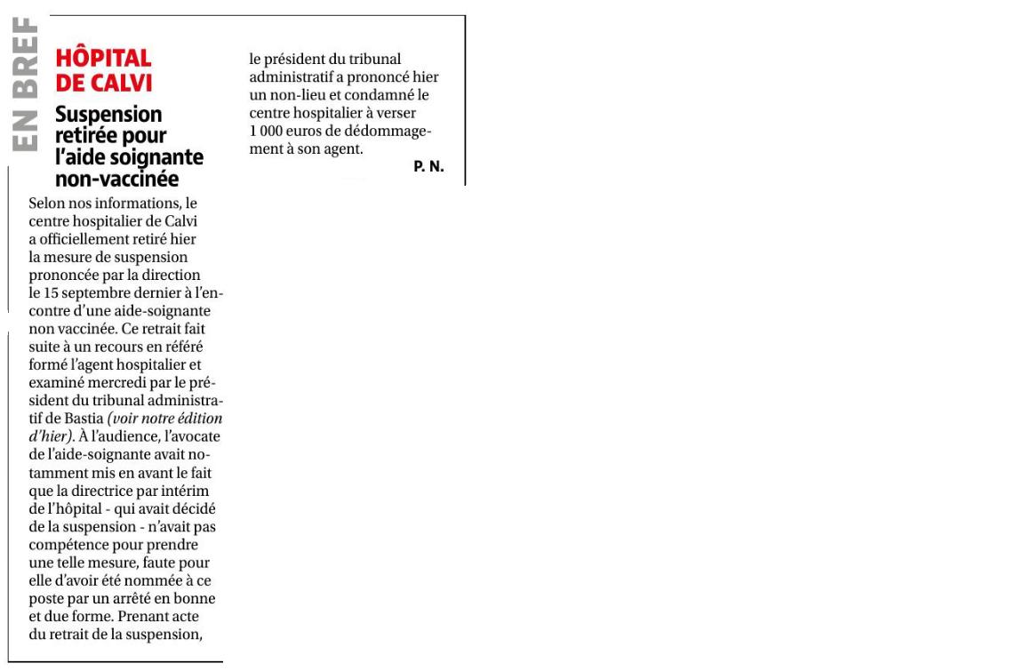 Retrait d'une mesure de suspension de fonctions pour défaut de vaccination Covid 19