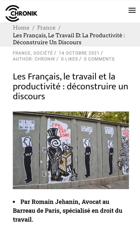 Les Français travaillent-ils aussi peu que le disent certains ? Mon analyse sur cette idée reçue publiée sur Chronik.fr