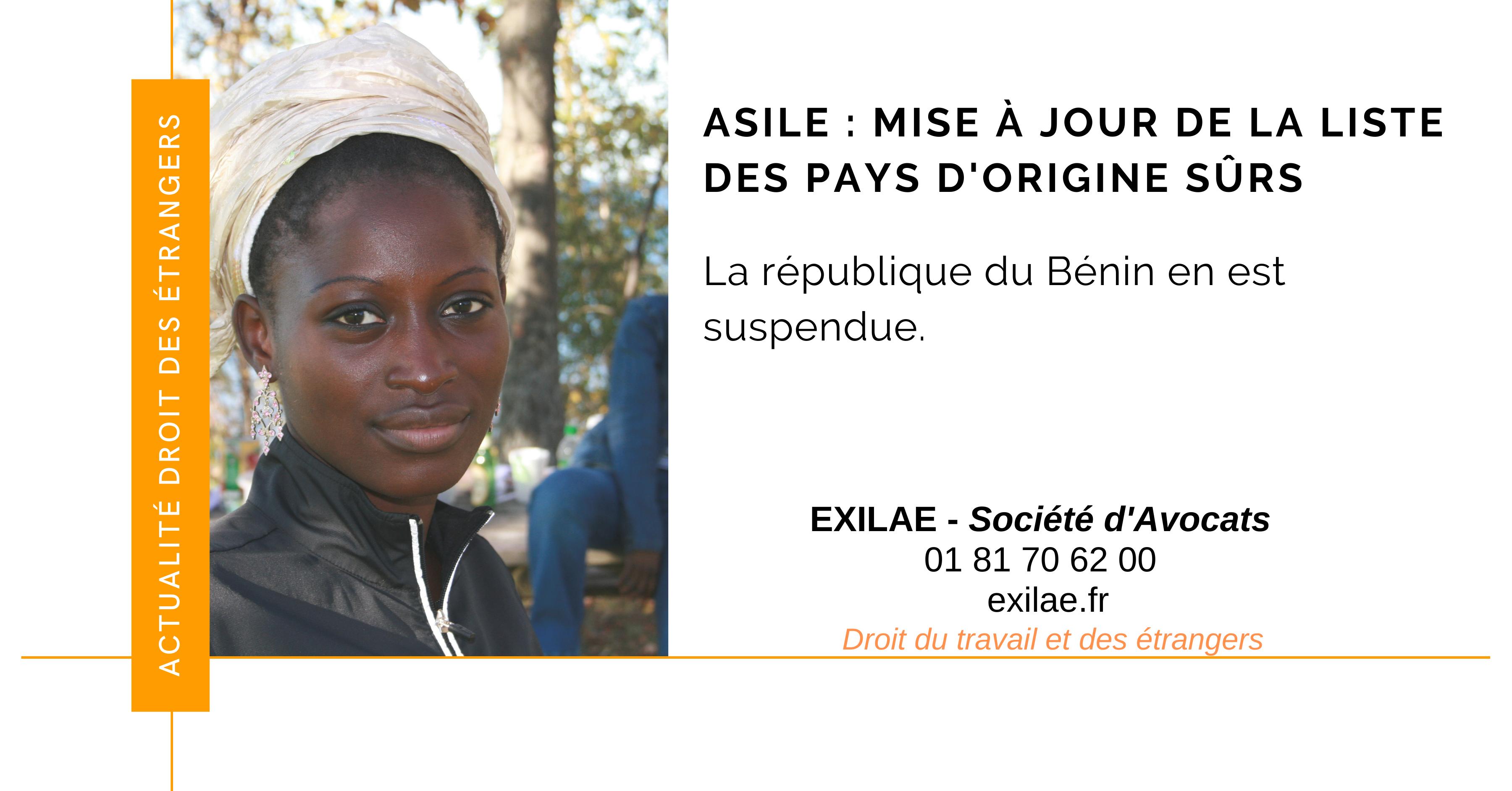 La République du Bénin suspendu de la liste des pays d'origine sûrs