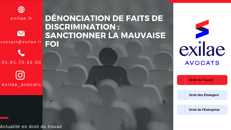 Dénonciation de faits de discrimination : sanctionner la mauvaise foi