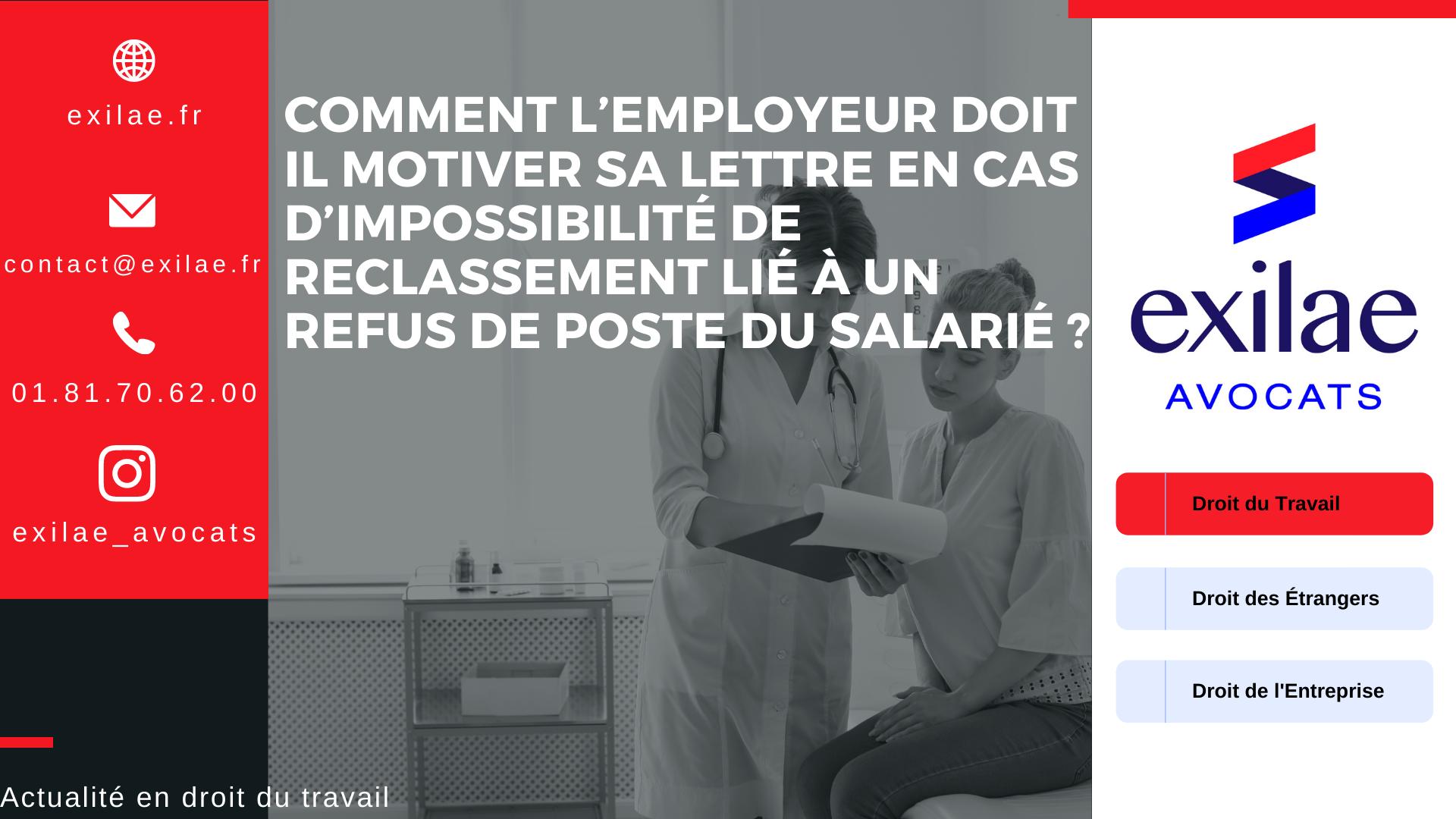 Comment l'employeur doit il motiver sa lettre en cas d'impossibilité de reclassement lié à un refus de poste du salarié ?