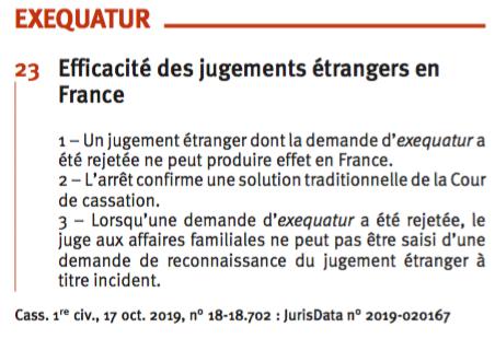 Efficacité des jugements étrangers en France