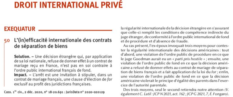 L'(in)efficacité internationale des contrats de séparation de biens