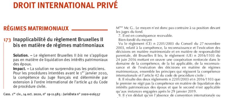 Inapplicabilité du règlement Bruxelles II bis en matière de régimes matrimoniaux